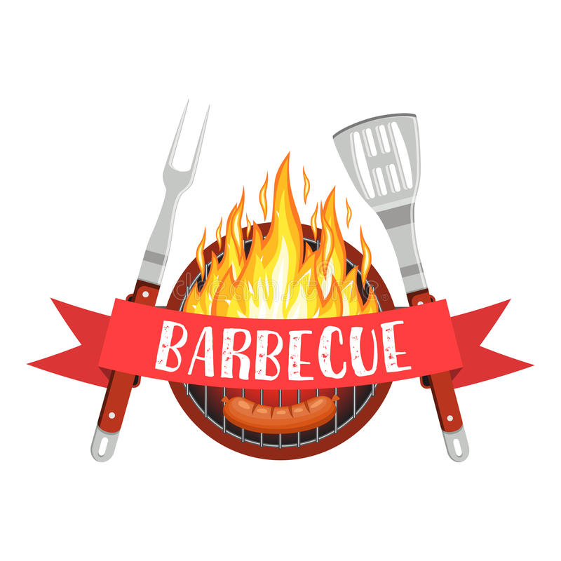 Logo del partito del barbecue royalty illustrazione gratis