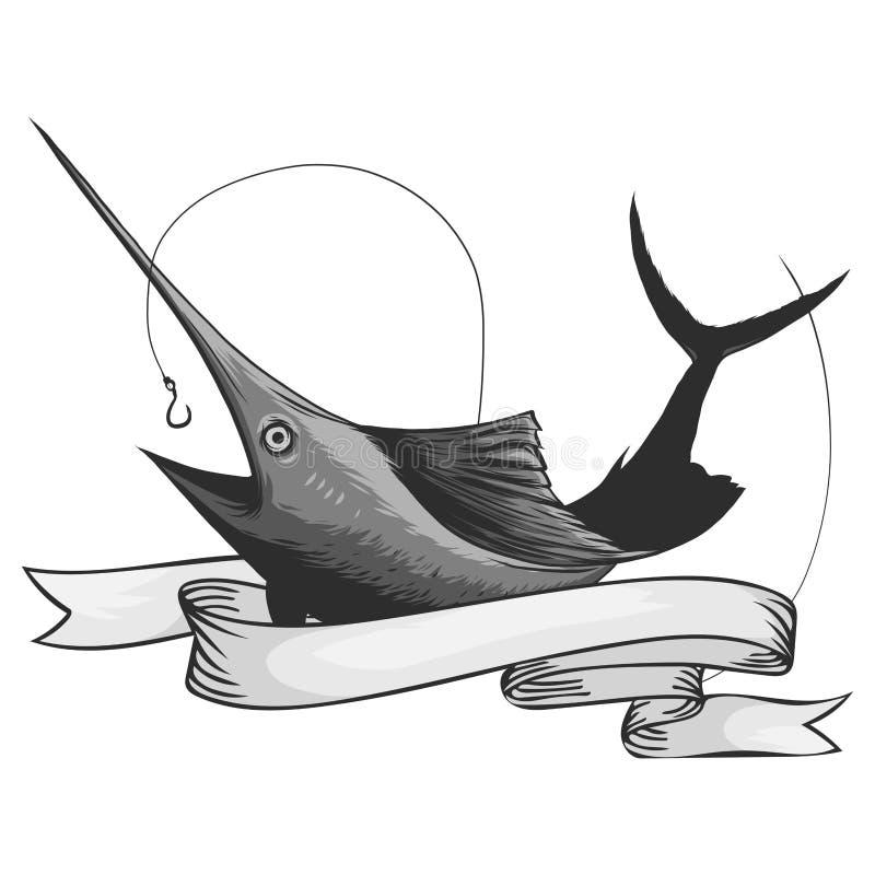Logo del pesce di Marlin Spada che pesca emblema per il club di sport Illustrazione arrabbiata di vettore di tema del fondo del p royalty illustrazione gratis