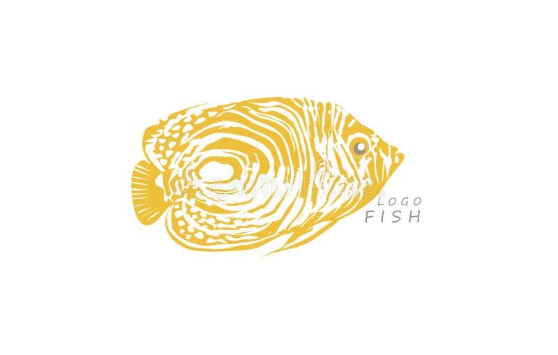 Logo del pesce, giallo esotico marino dell'acqua di vettore immagine stock libera da diritti