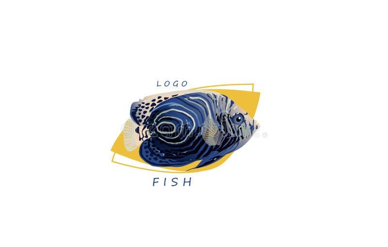 Logo del pesce, giallo esotico marino dell'acqua di vettore fotografie stock libere da diritti