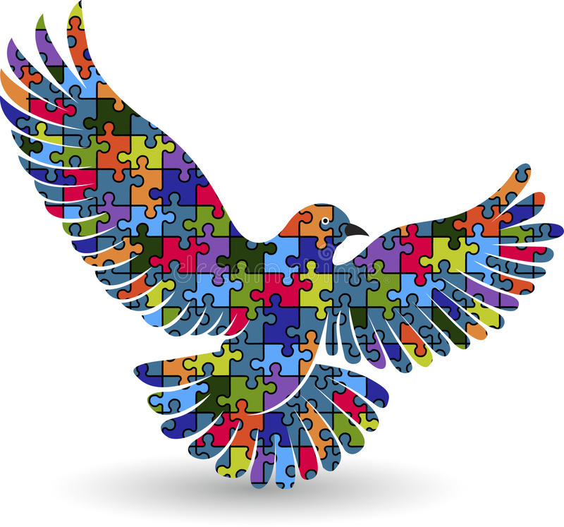 logo del piccione di puzzle illustrazione di stock