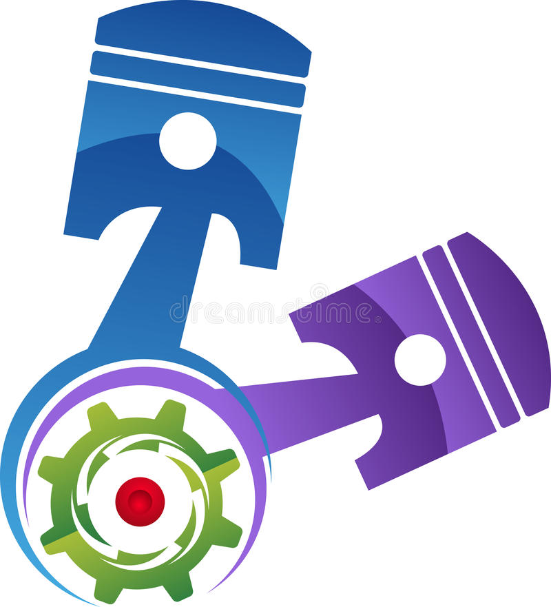 Logo del pistone del motore di automobile illustrazione di stock