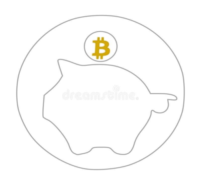 Logo del porcellino salvadanaio di Bitcoin nell'illustrazione di colore dorata immagine stock libera da diritti