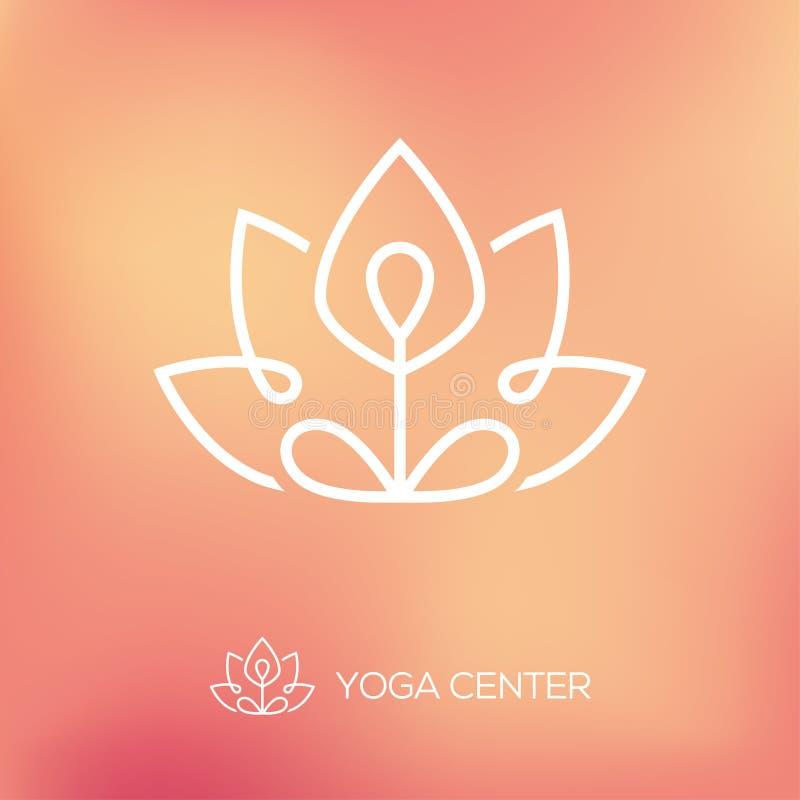 Logo del profilo di posa del loto di yoga illustrazione vettoriale
