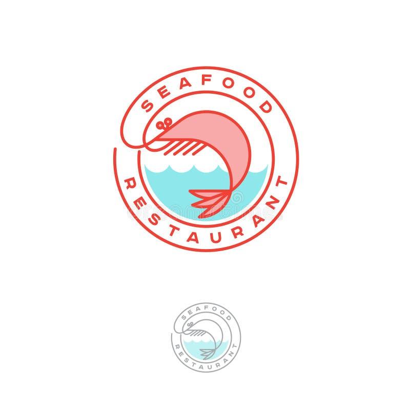 Logo del ristorante dei frutti di mare Gambero rosa con le onde e le lettere in un cerchio royalty illustrazione gratis