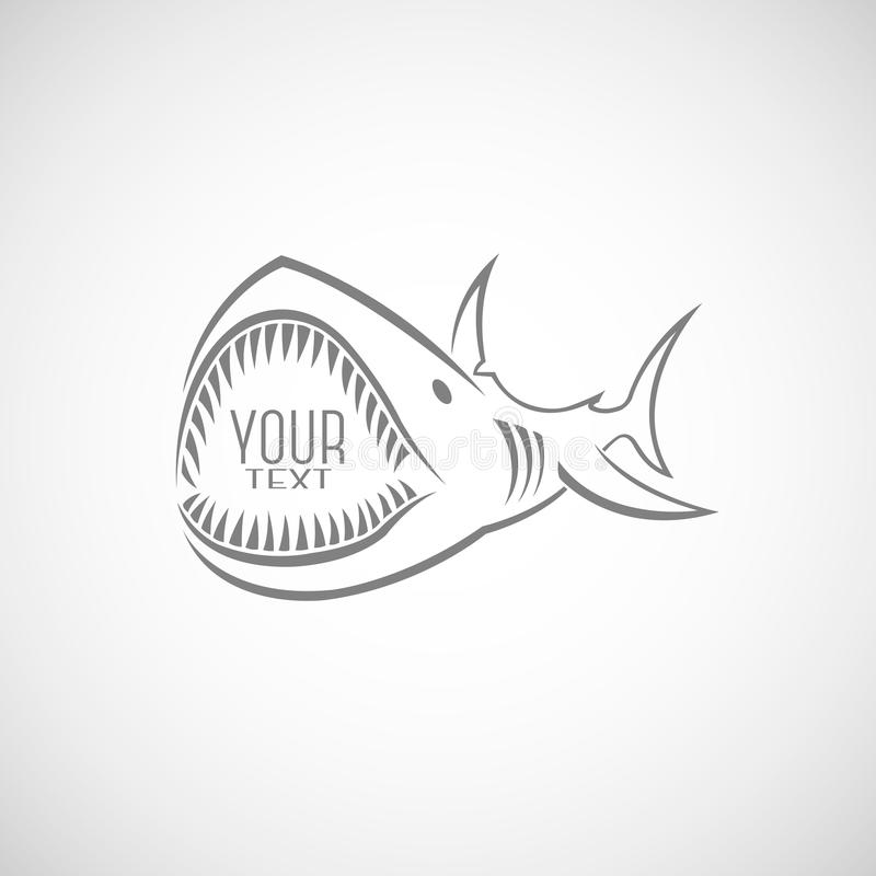 Logo del ` s dello squalo con una bocca a trentadue denti fotografia stock