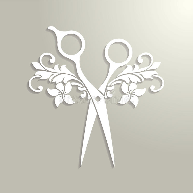 Logo del salone di capelli con le forbici bianche illustrazione di stock
