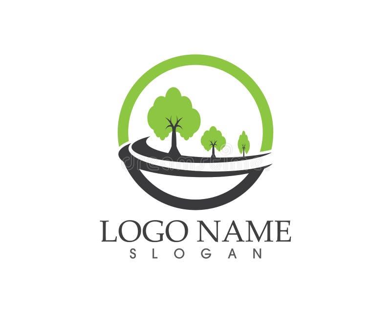 Logo del segno dell'icona della strada dell'albero illustrazione di stock