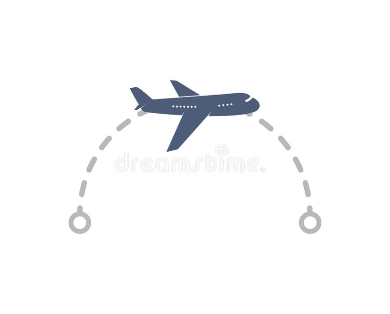 Logo del velivolo con rotta di volo dal punto A al punto B illustrazione vettoriale Piano aereo semplice isolato con tracciato e  royalty illustrazione gratis