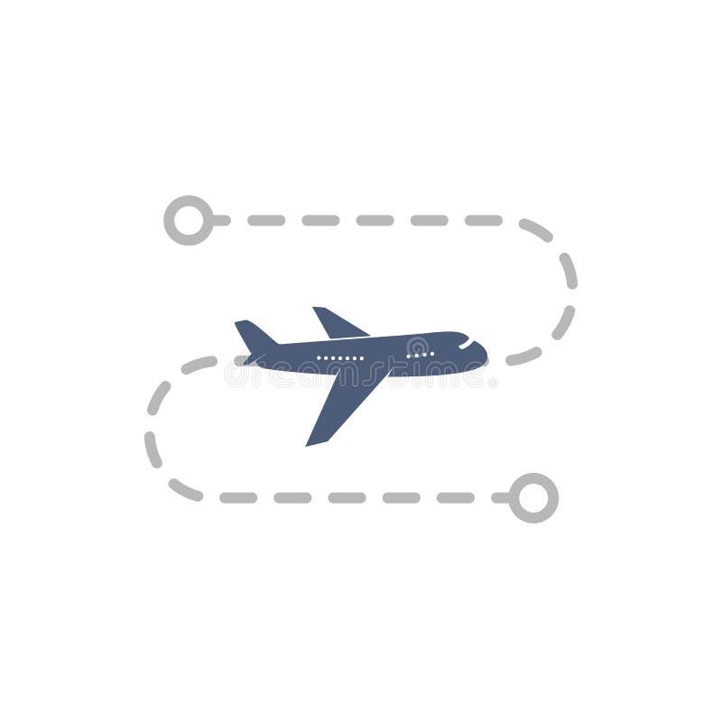 Logo del velivolo con rotta di volo dal punto A al punto B illustrazione vettoriale Piano semplice isolato su fondo bianco illustrazione vettoriale