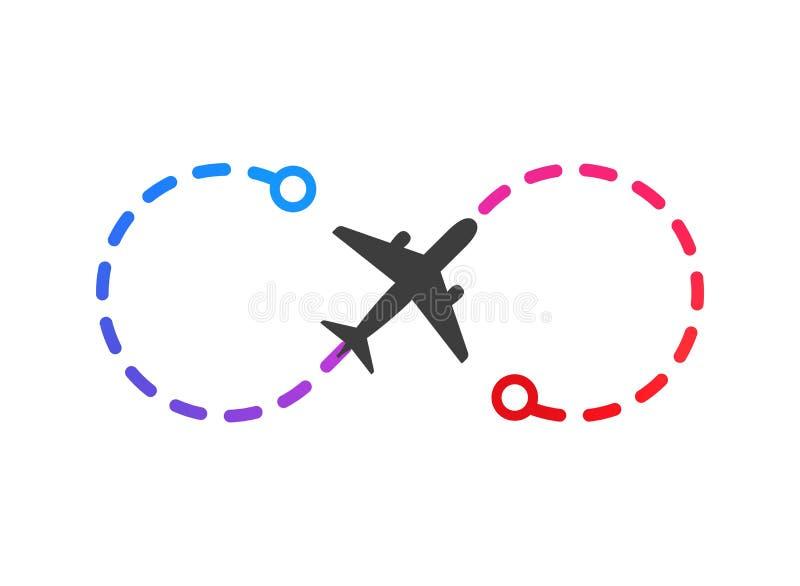 Logo del velivolo sulla rotta di volo a colori dal punto A al punto B illustrazione vettoriale Piano semplice isolato su fondo bi illustrazione vettoriale