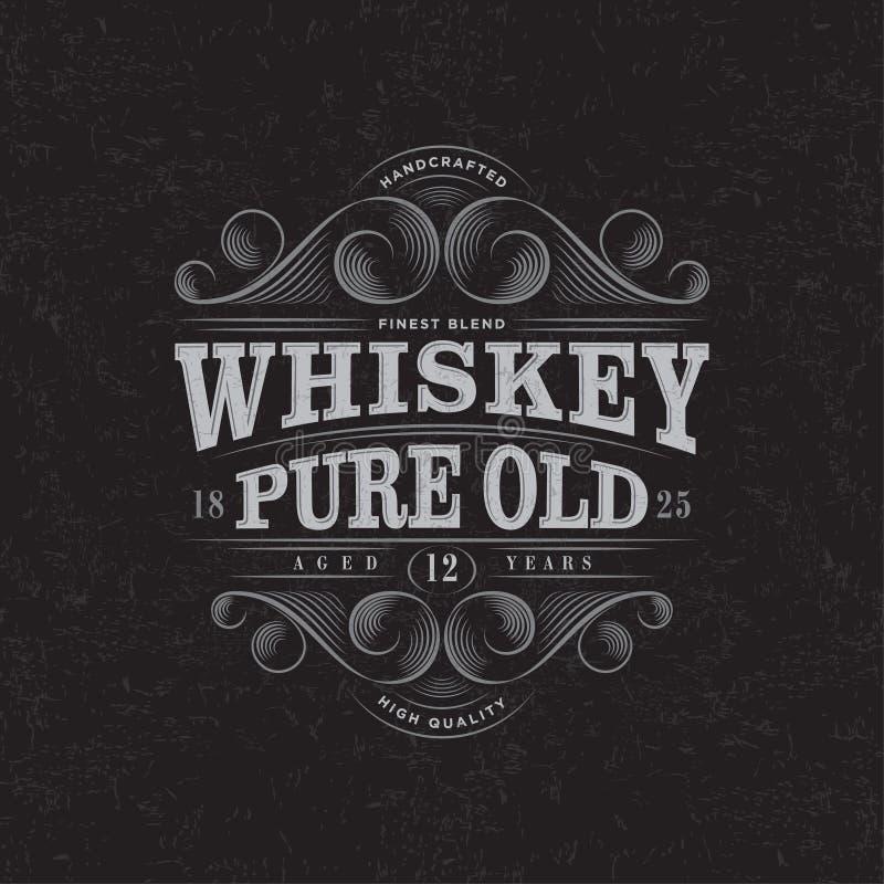 Logo del whiskey Etichetta pura del whiskey vecchia Progettazione di imballaggio premio Iscrizione degli elementi con lettere dec royalty illustrazione gratis