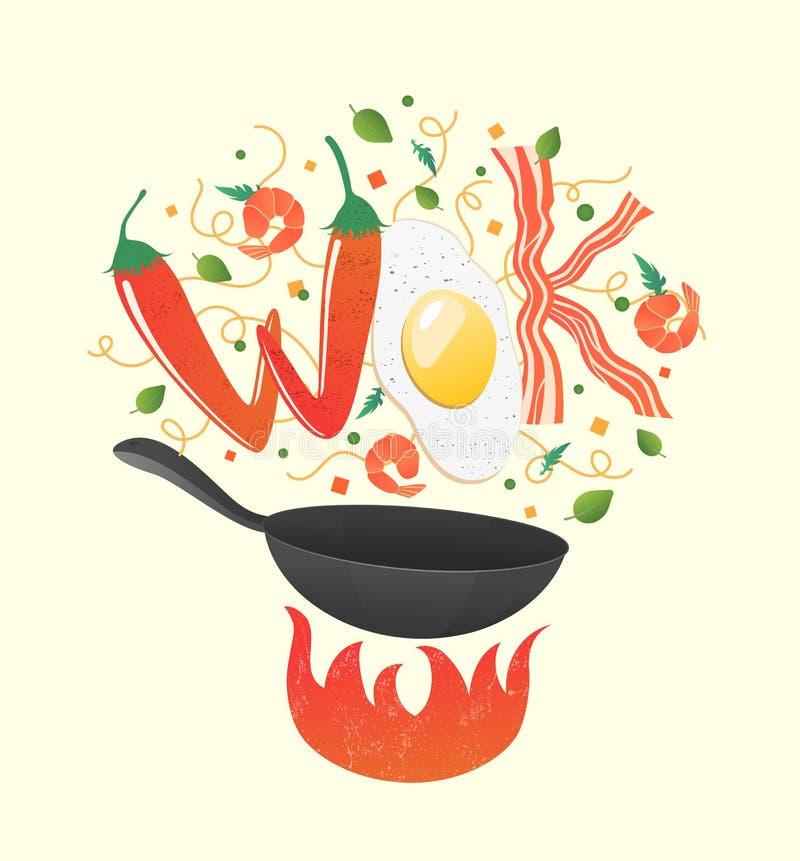 Logo del wok per il ristorante tailandese o cinese Frittura di scalpore con le lettere commestibili Illustrazione di vettore di p illustrazione vettoriale