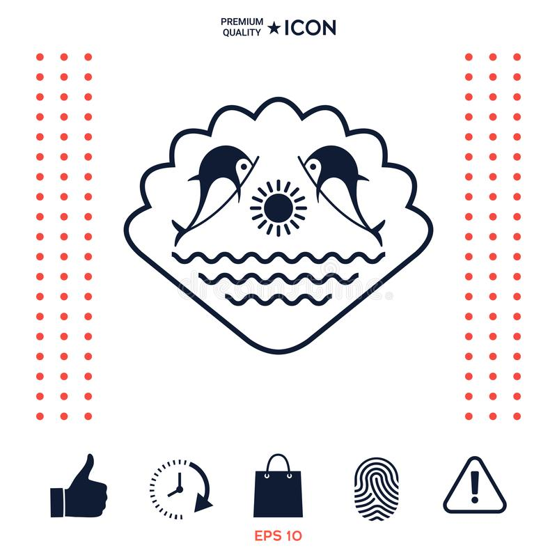 Download Logo - Delfini Con Il Sole Ed Il Marino Sui Precedenti Della Conchiglia Illustrazione Vettoriale - Illustrazione di illustrazione, marchio: 117975843