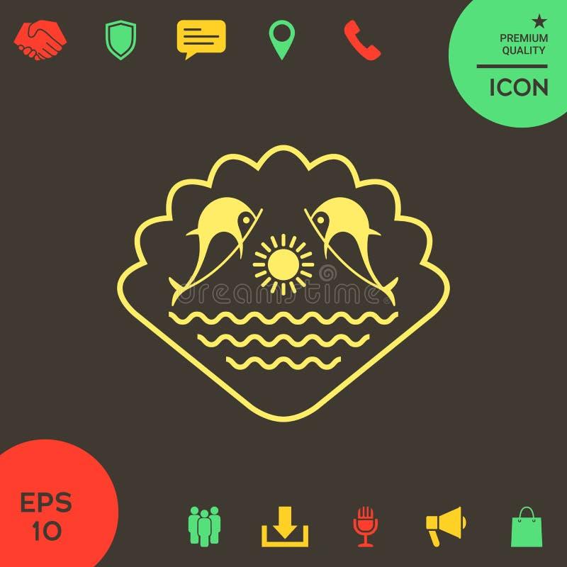Logo - delfiny z słońcem i morzem - na tle seashell ilustracja wektor