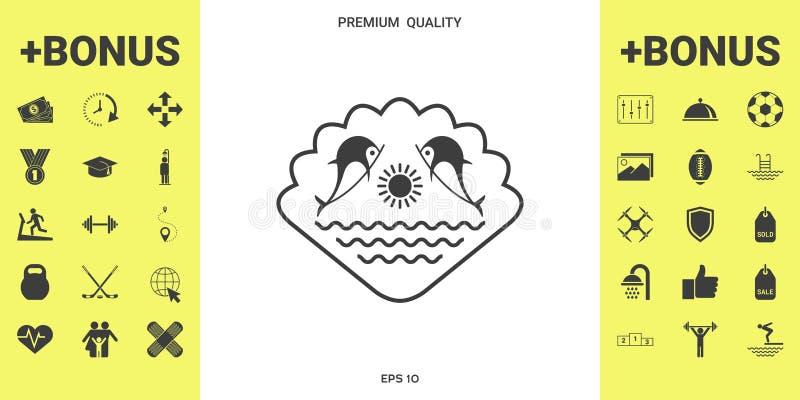Logo - delfiny z słońcem i morzem - na tle seashell royalty ilustracja