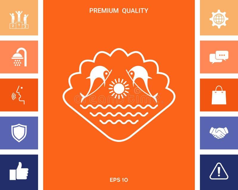 Logo - delfiny z słońcem i morzem - na tle seashell ilustracji