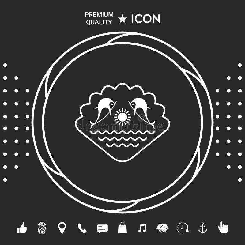 Logo - delfiny z słońcem i morzem - na tle seashell Graficzni elementy dla twój designt ilustracji