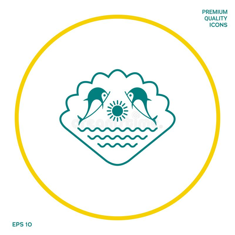 Logo - delfiny z słońcem i morzem - na tle seashell Graficzni elementy dla twój projekta ilustracja wektor