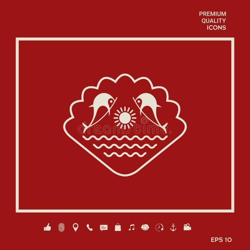 Logo - delfiny z słońcem i morzem - na tle seashell Graficzni elementy dla twój projekta ilustracji
