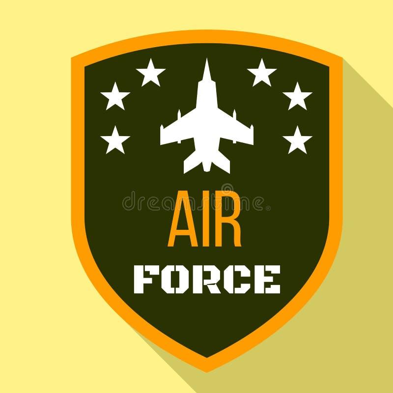 Logo dell'aeronautica del combattente, stile piano illustrazione di stock