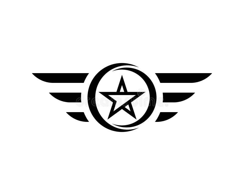 Logo dell'ala e modello neri di simbolo royalty illustrazione gratis