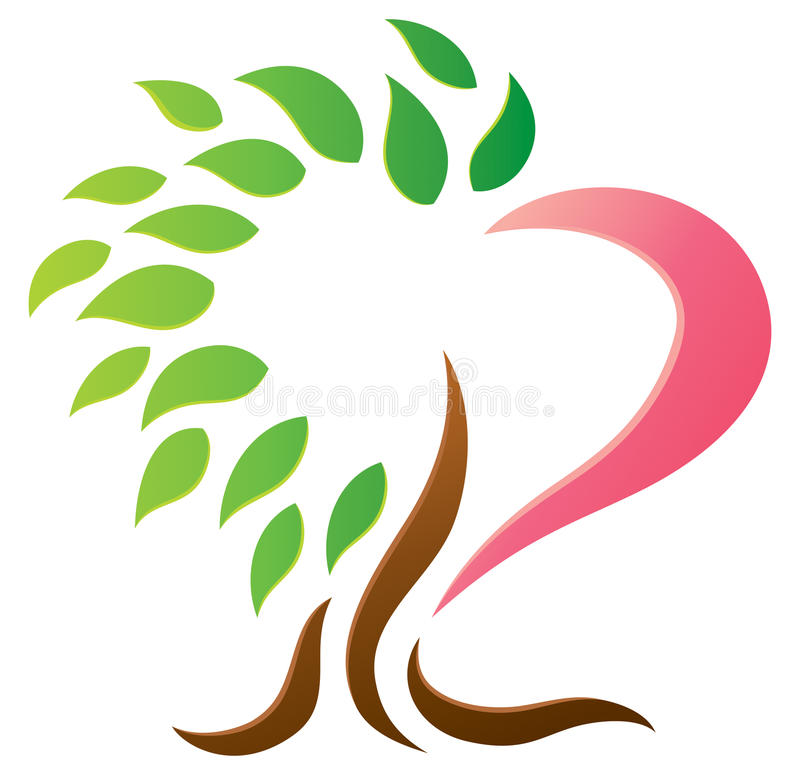 Logo dell'albero del cuore illustrazione vettoriale
