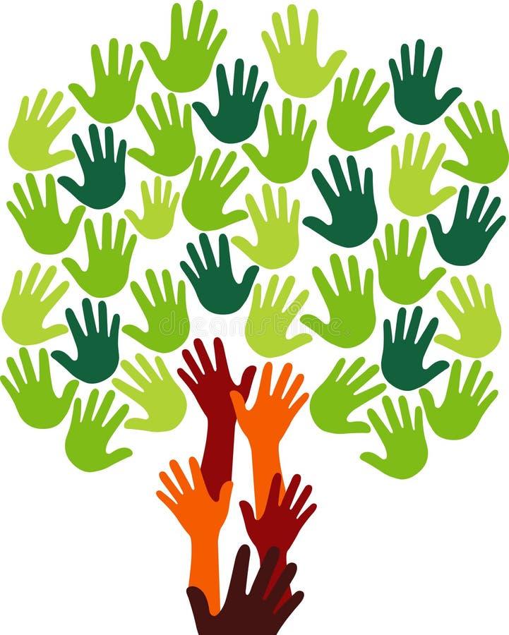 Logo dell'albero della mano illustrazione di stock