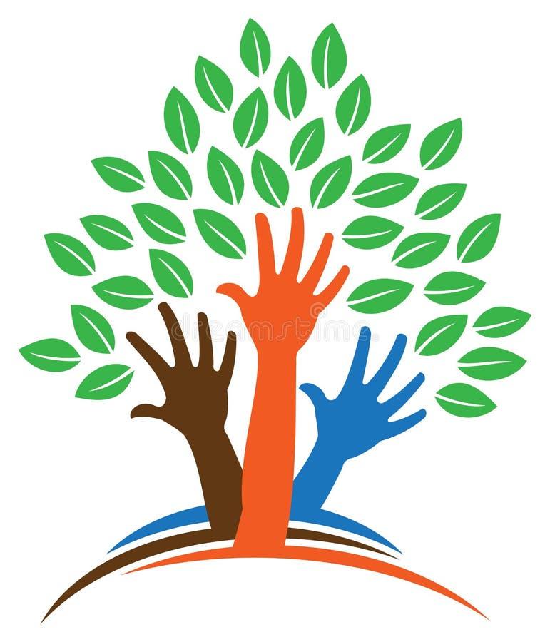 Logo dell'albero della mano illustrazione vettoriale