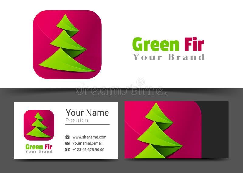 Logo dell'albero di abete e modello corporativi del segno del biglietto da visita illustrazione vettoriale
