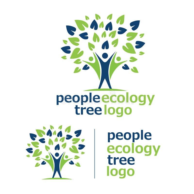 Logo 7 dell'albero di ecologia della gente illustrazione vettoriale