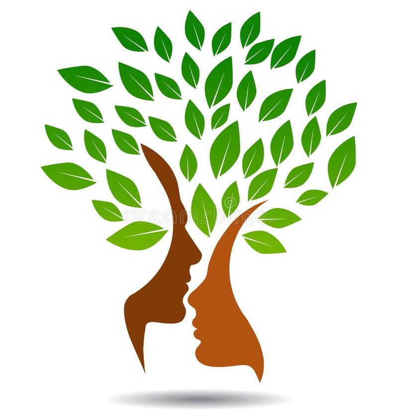 Logo dell'albero genealogico con i fronti di profilo illustrazione di stock