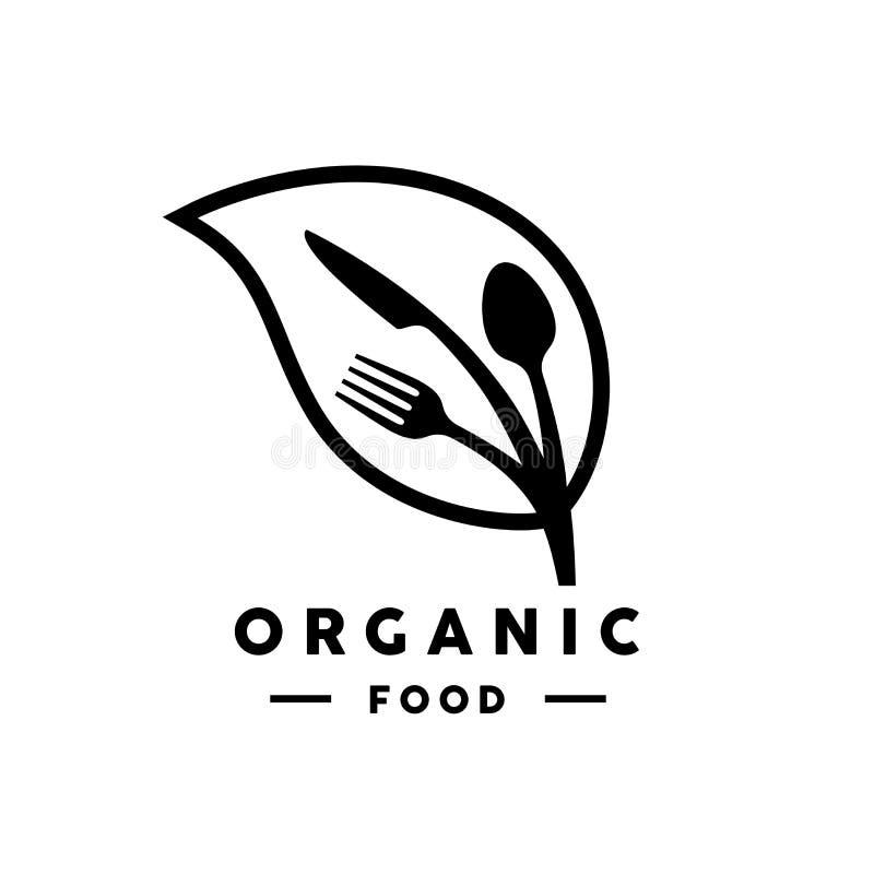 Logo dell'alimento biologico con l'icona della foglia, della forchetta, del coltello e del cucchiaio illustrazione vettoriale