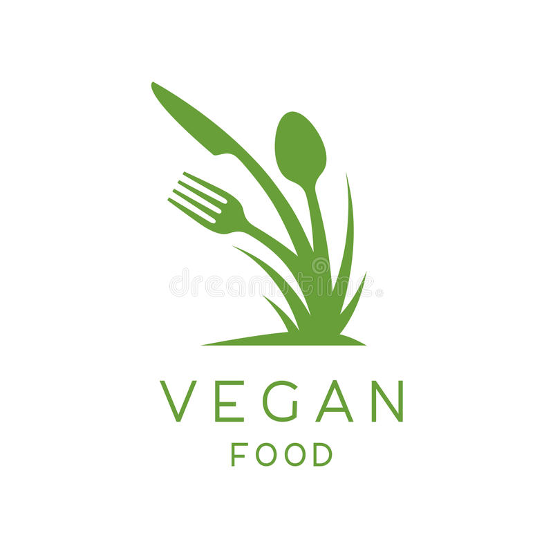 Logo dell'alimento del vegano dell'icona della pianta, della forchetta, del coltello e del cucchiaio royalty illustrazione gratis