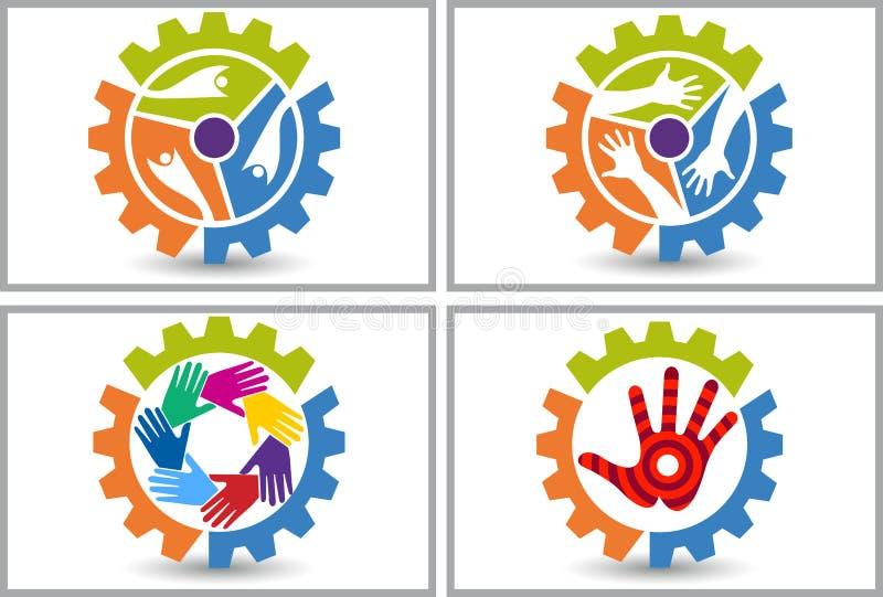 Logo dell'amico della fabbrica illustrazione di stock