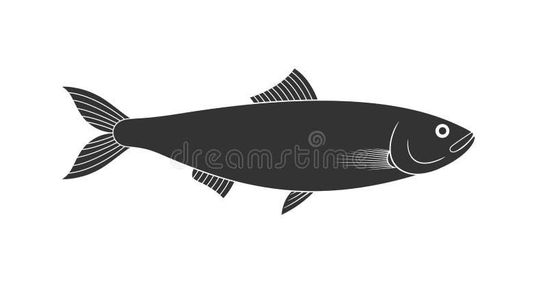 Logo dell'aringa Aringa isolata su fondo bianco illustrazione di stock