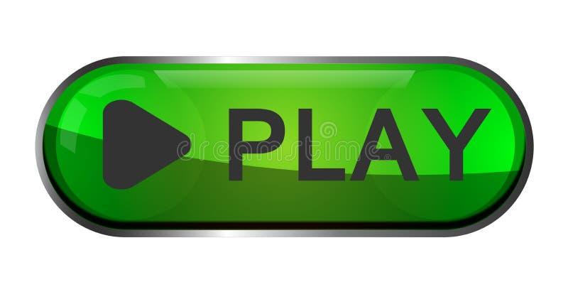 Logo dell'elemento del segno dell'icona del tasto di riproduzione con ombra nel colore verde su fondo bianco illustrazione di stock