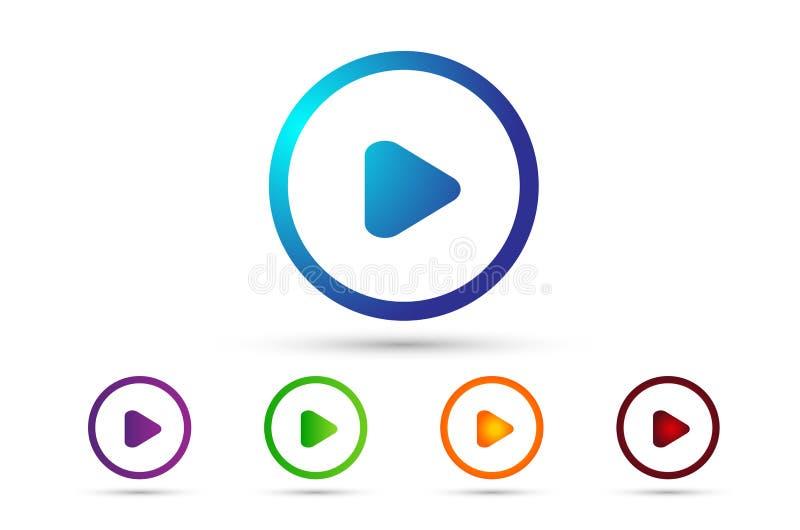 Logo dell'elemento del segno dell'insieme dell'icona del tasto di riproduzione con ombra in multicolore su fondo bianco illustrazione vettoriale