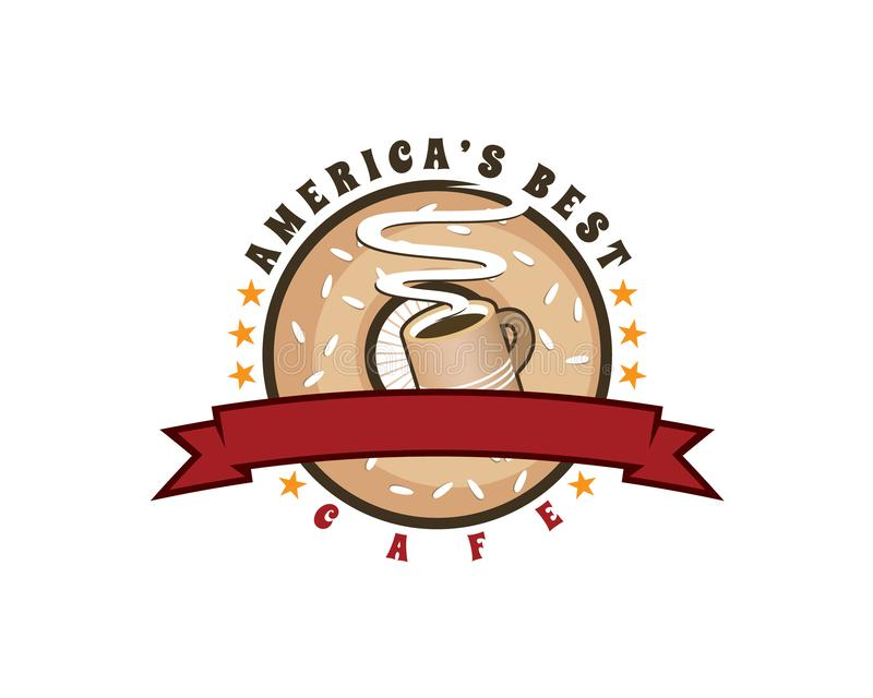 Logo dell'emblema di migliori caffè e bagel delle Americhe nello stile d'annata o retro illustrazione vettoriale