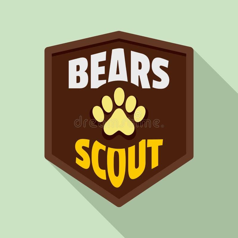 Logo dell'esploratore degli orsi, stile piano illustrazione di stock