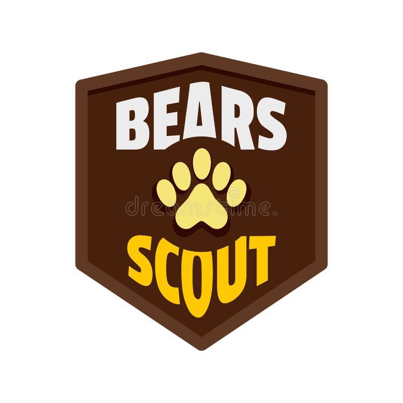 Logo dell'esploratore degli orsi, stile piano royalty illustrazione gratis