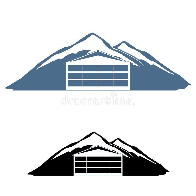Logo dell'hotel della montagna illustrazione vettoriale
