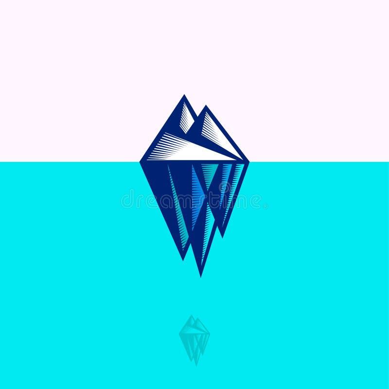 Logo dell'iceberg Emblema estremo di giro Montagna dell'iceberg ad incidere stile royalty illustrazione gratis