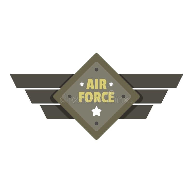 Logo dell'icona dell'aeronautica, stile piano illustrazione vettoriale