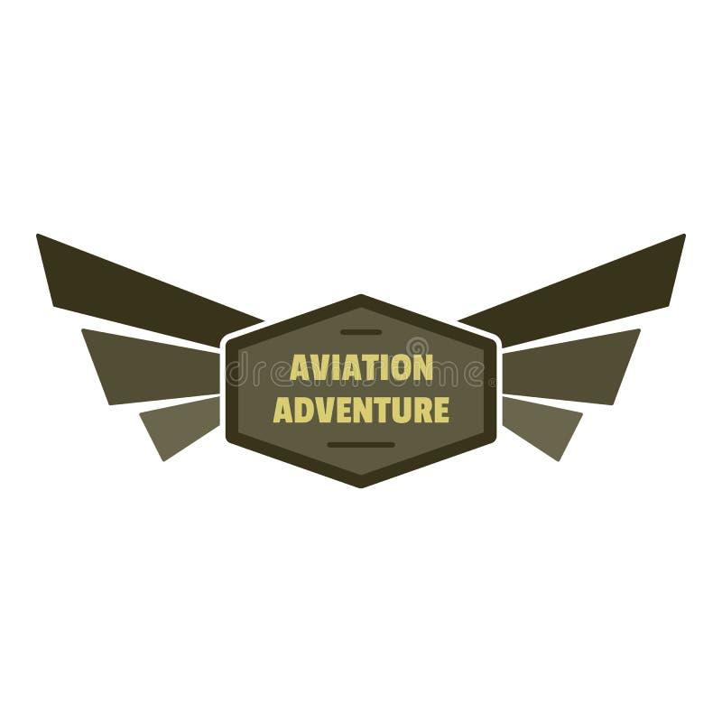 Logo dell'icona di avventura di aviazione, stile piano royalty illustrazione gratis