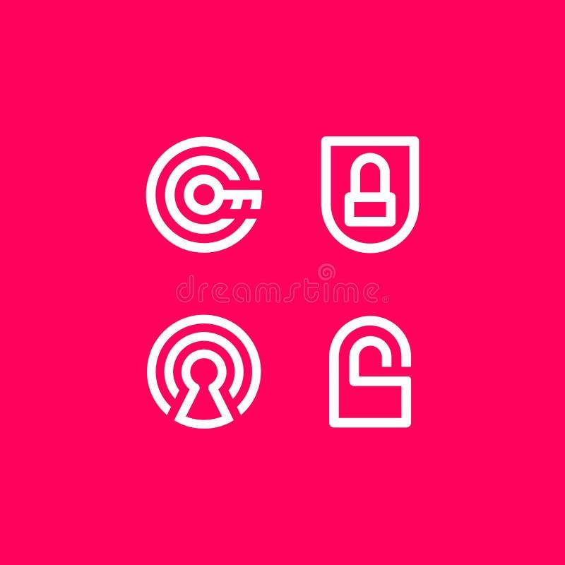 Logo dell'icona di sicurezza di sicurezza dell'illustrazione di vettore royalty illustrazione gratis