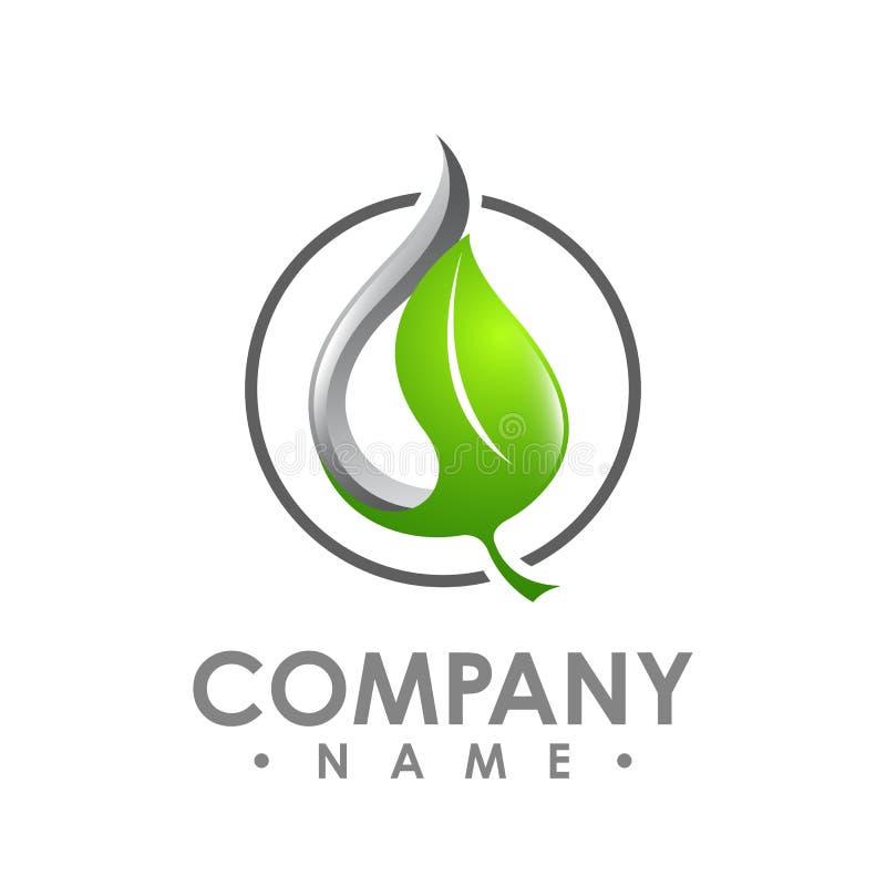 Logo dell'icona verde di vettore dell'elemento della natura di ecologia della foglia Progettazione SH illustrazione vettoriale