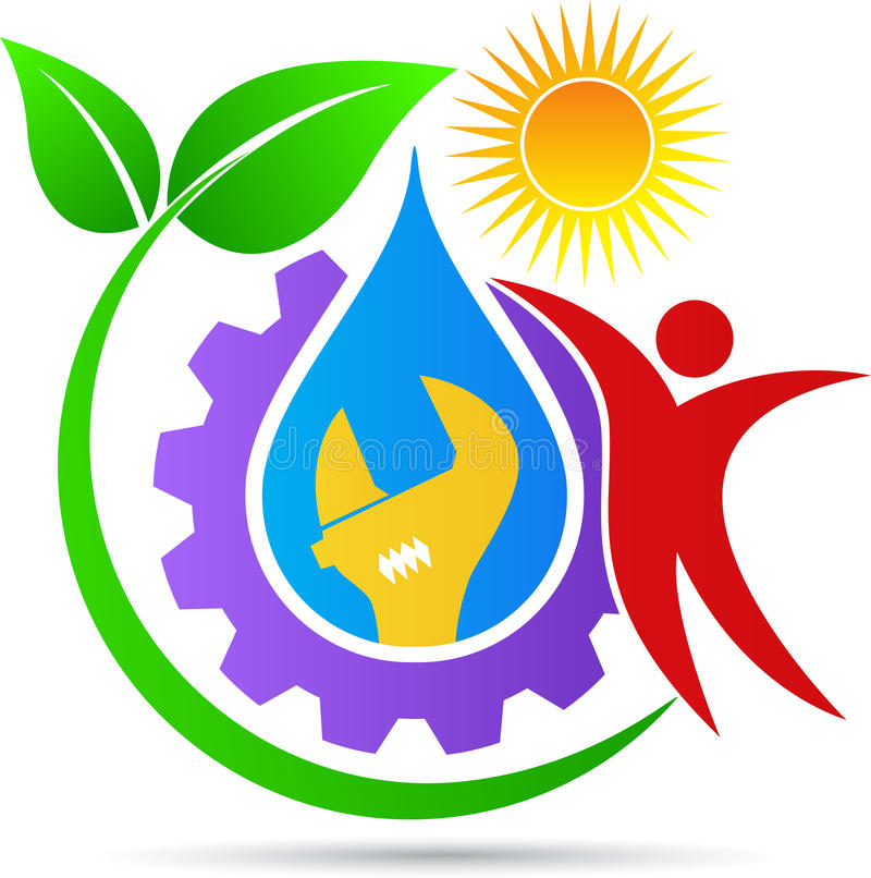 Logo dell'impianto idraulico illustrazione vettoriale