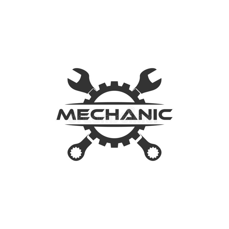 Logo dell'ingranaggio della chiave Progettazione piana di logo illustrazione di stock