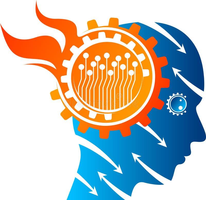 Logo dell'ingranaggio di mente di tensione illustrazione di stock